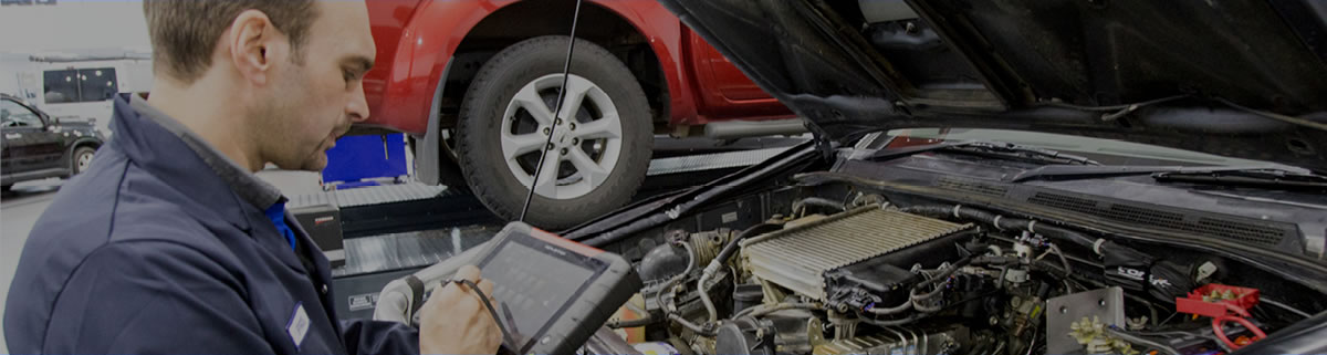 Homepage banner image of a car technician